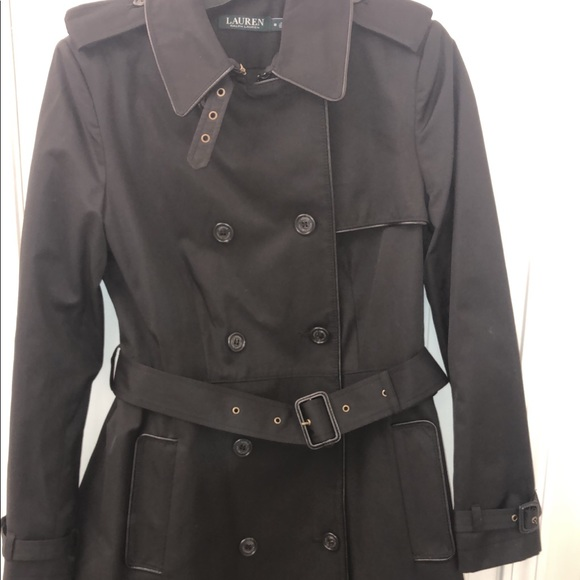 9532848d Lauren by Ralph Lauren Black Trench Coat Medium NWT